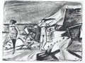 Das Meer hat die Stunden zerbröselt..., 1987, Kaltnadel, 32x41 cm