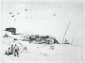Strand im Herbst, 1988, Kaltnadel, 29x40 cm