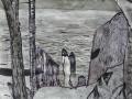Am Lago di Como, 2004, Möwenfeder, Pinsel, Tusche, 60x41 cm