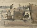 Am Strand, 1987, Feder, Pinsel, Tusche, 15x21 cm