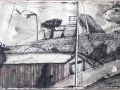 Geräteschuppen der Fischer, 2003, Tusche und Ölkreide, 42x60 cm