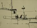 Im Hafen von Groß-Zicker, 2004, Möwenfeder, Tusche, 41x58 cm