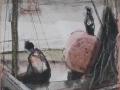 Nach der Regatta, 2004, Tusche und Ölkreide, 20x15 cm
